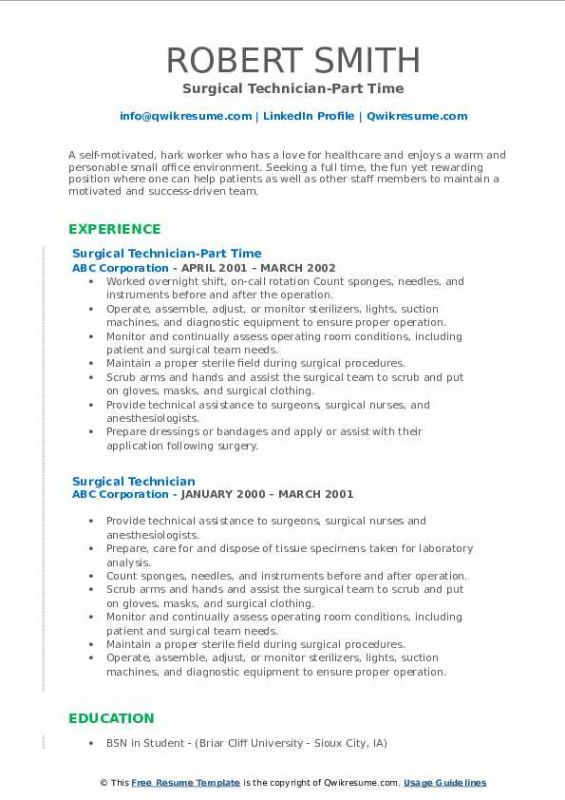 Free Surgical Technologist Resume Template Doc Sample