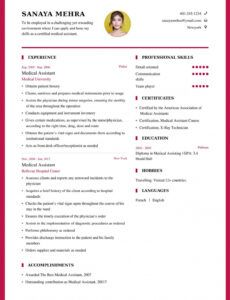 Printable Medical Student Resume Template Word