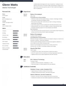 Printable Medical Technician Resume Template Doc Sample