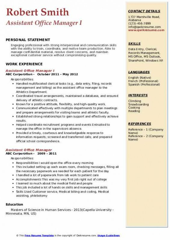 Printable Office Assistant Resume Template  Sample