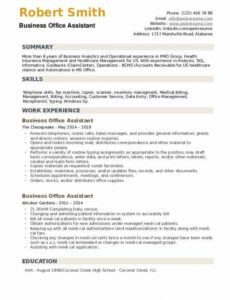 Printable Office Assistant Resume Template Word