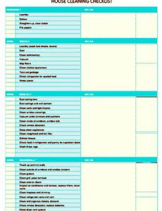Printable Residential Cleaning Checklist Template Excel