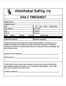 Professional Intern Timesheet Template Excel