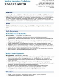 Professional Medical Technician Resume Template Doc Example