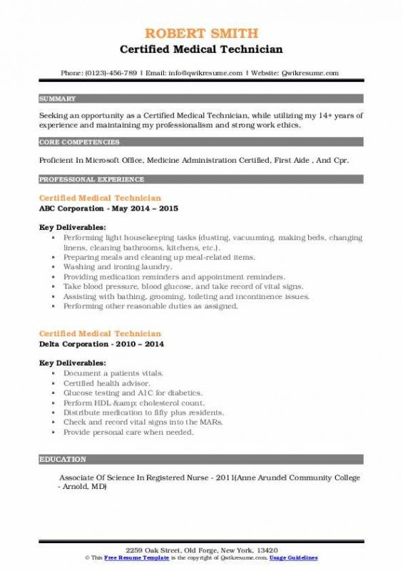 Professional Medical Technician Resume Template Word Example