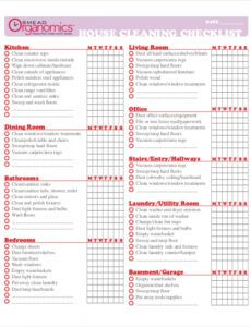 Professional Residential Cleaning Checklist Template