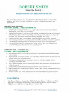 Professional Resume Template For Security Guard Pdf Sample
