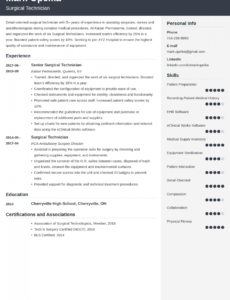 Surgical Technologist Resume Template Excel Example