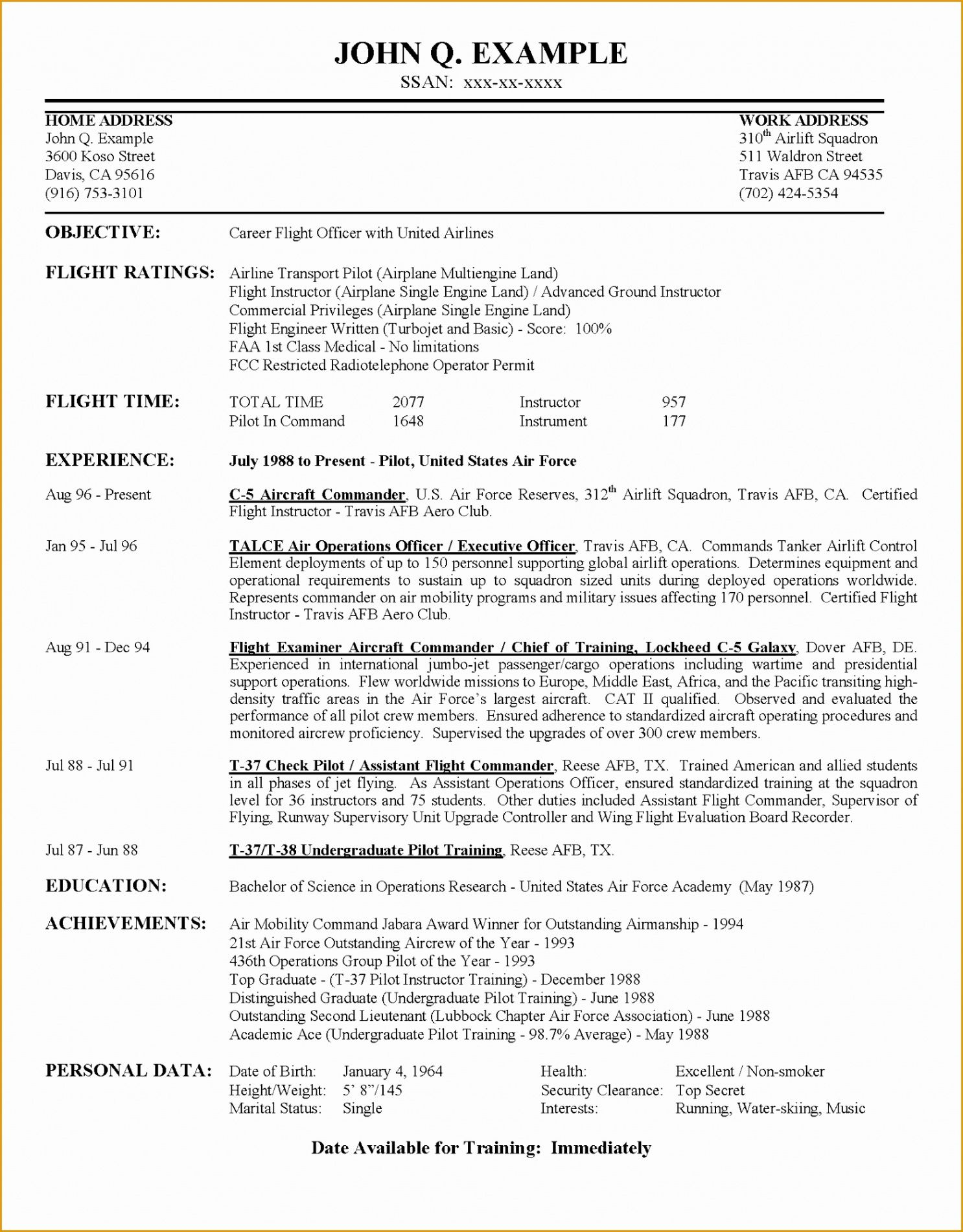 Airline Pilot Resume Template  Sample