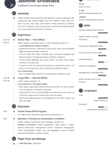 Best Airline Pilot Resume Template Doc Sample