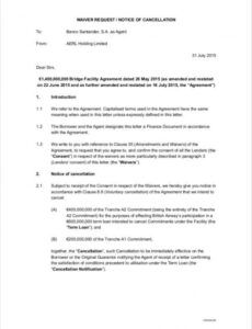 Best Notice Of Cancellation Of Contract Template Excel Sample