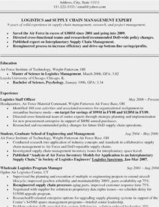 Best Supply Chain Management Resume Template Excel