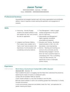 Costum Baseball Coach Resume Template Excel Example