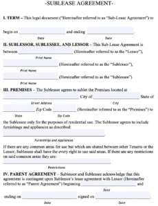 Editable Sublease Eviction Notice Template  Example