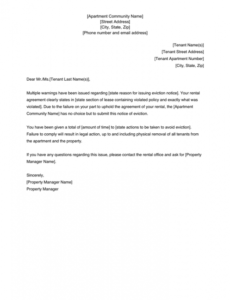 Free Apartment Eviction Notice Template Pdf Sample
