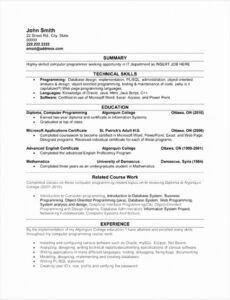 Free Computer Science Graduate Resume Template Doc Example