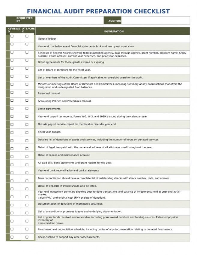 Free Financial Audit Checklist Template
