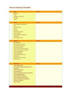 Free House Cleaning Checklist Template Word Sample