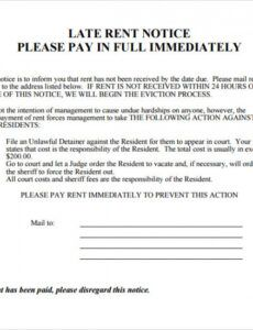 Free Late Rent Notice Letter Template Word Example