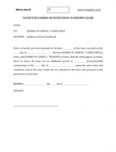 Free Notice Of Lease Non Renewal Template Doc Example