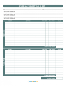 Free Timesheet Template For Multiple Projects  Example