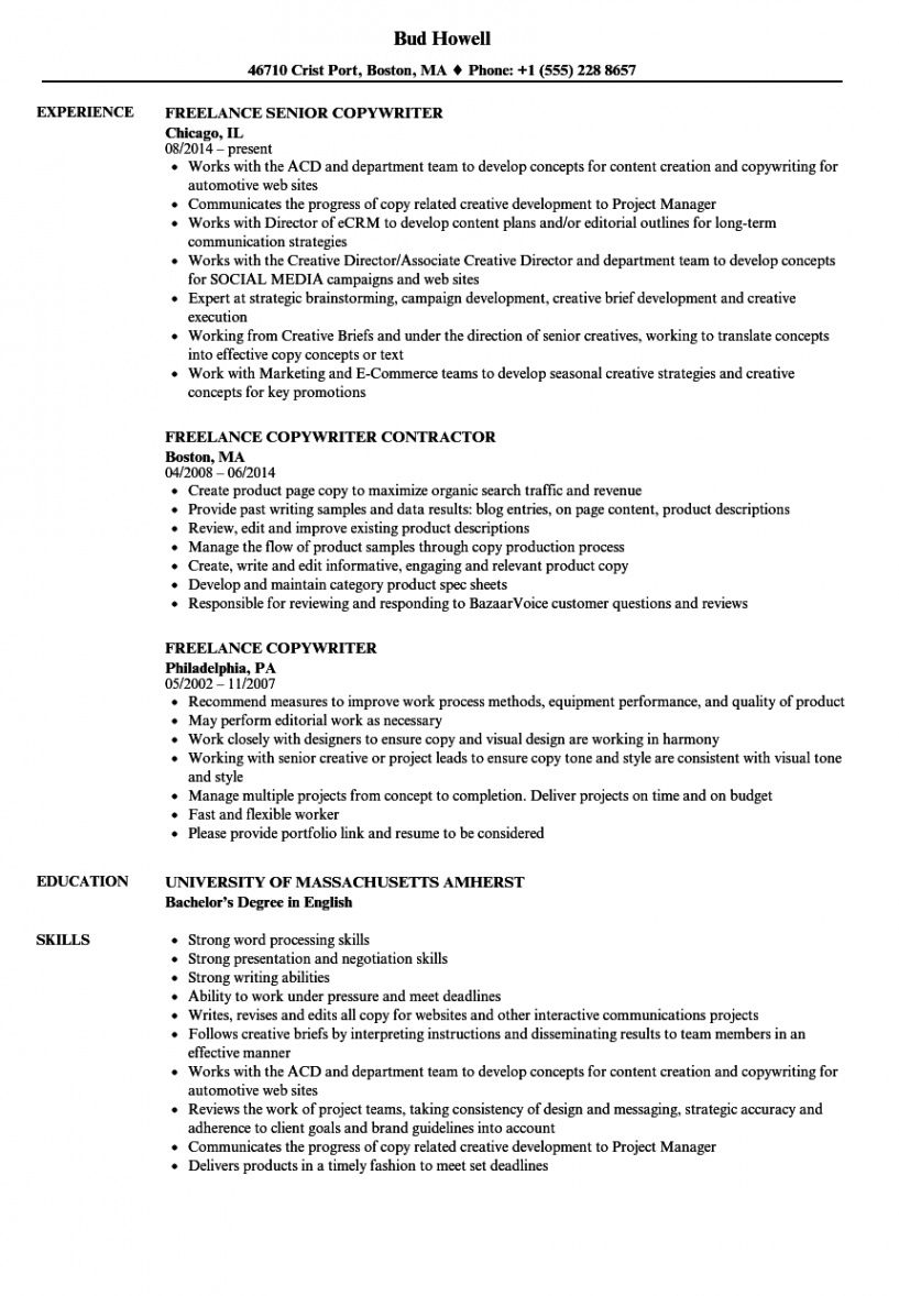 Freelance Writer Resume Template Excel Example