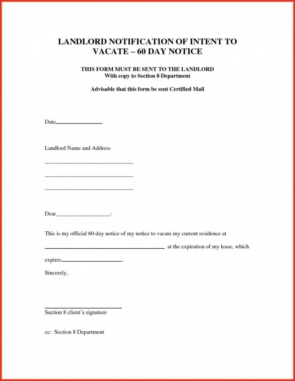 Printable Apartment 60 Day Notice Template Excel Example