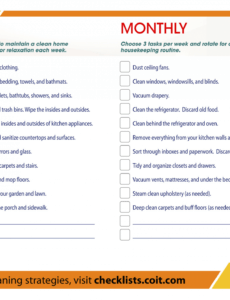 Printable House Cleaning Checklist Template Doc
