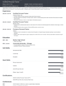 Printable Personal Trainer Resume Template Doc