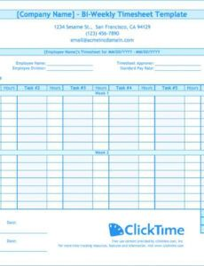Timesheet Template For Multiple Projects Excel