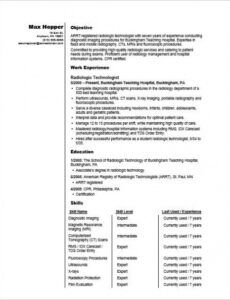 X Ray Tech Resume Template  Example