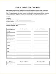 Best Rental Move In Checklist Template Doc Example