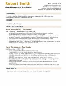 Editable Case Manager Resume Template Word Example