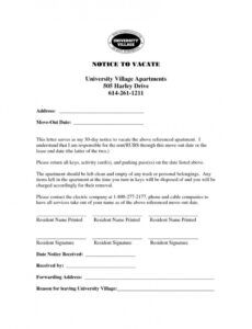 Editable Notice Of Moving Out To Landlord Template Doc Example