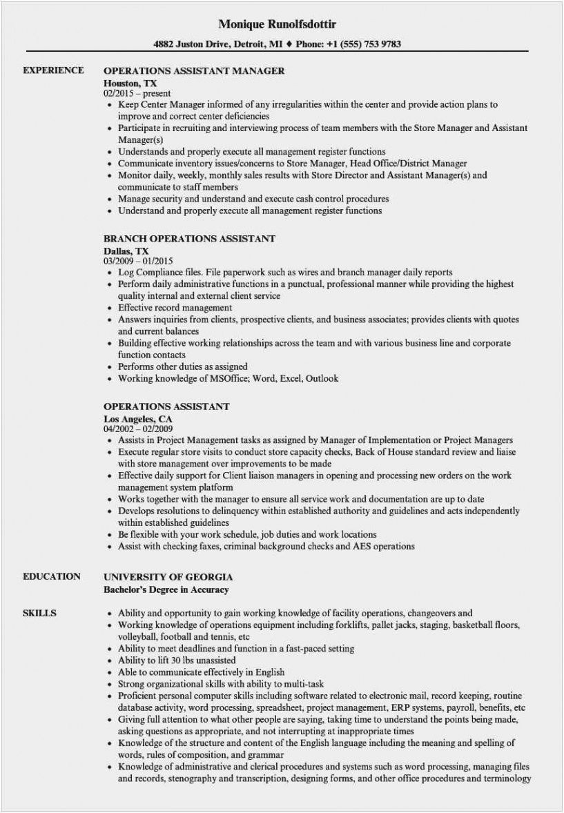 Executive Assistant Resume Template Pdf Example