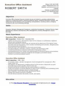 Printable Executive Assistant Resume Template Excel