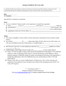 Printable Renter 30 Day Notice Template  Example