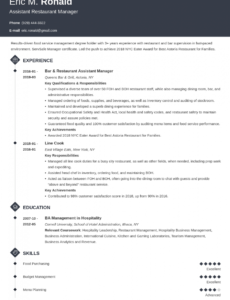Restaurant Manager Resume Template Pdf Example