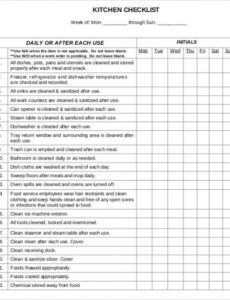 Commercial Cleaning Checklist Template Excel