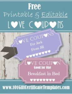 Editable Coupon Book For Boyfriend Template Pdf Example