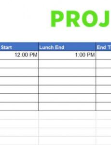 Printable Project Timesheet Template