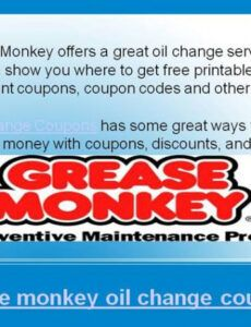 Professional Oil Change Coupon Template Pdf Sample