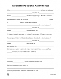 editable free illinois special warranty deed form  word  pdf  eforms generic promissory note template