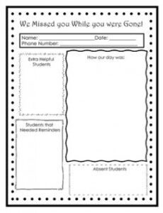 editable we missed you  sub notes by mrs clark's classroom  tpt substitute teacher note template pdf