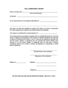 free fillable full conditional waiver michigan  download release of promissory note template word