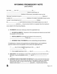 free wyoming secured promissory note template  pdf  word florida promissory note template excel