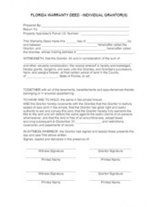 printable florida general warranty deed form free template  cocosign generic promissory note template