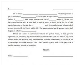 sample of simple promissory note  template business vehicle promissory note template pdf